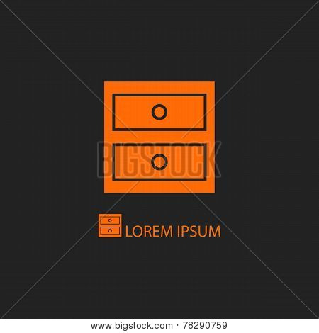 Orange Chest Of Drawers On Black Background