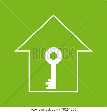 House With Key. White On Green