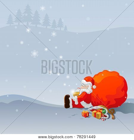 Merry Christmas, Santa Claus With Gift Bag
