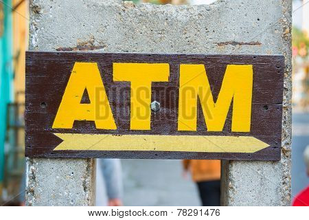 Atm Machine Sign Hand Painted