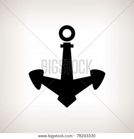 Silhouette Anchor On A Light Background, Vector Illustration