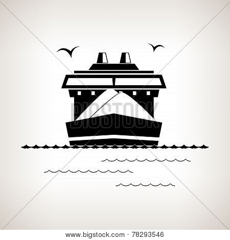 Silhouette Cargo Ship On A Light Background , Vector Illustration