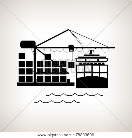 Silhouette Cargo Container Ship And Cargo Crane  , Vector Illustration