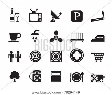 Silhouette Hotel and Motel objects icons