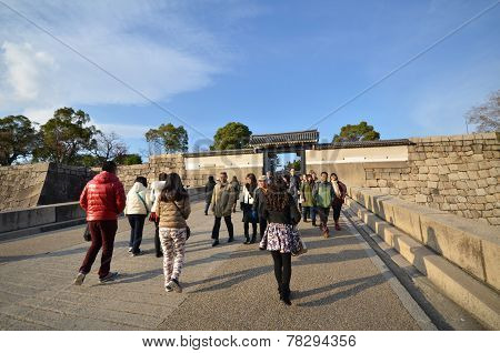 Tourists Visit Osaka Castle In Osaka City, Japan