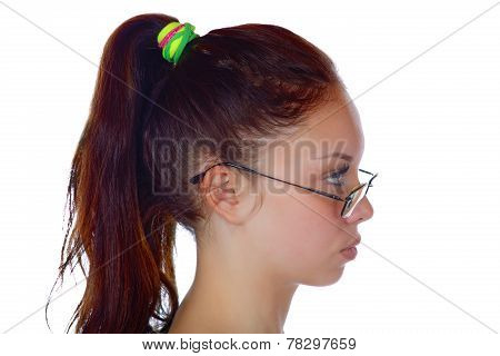 Head Of The Girl In A Profile On A White Background