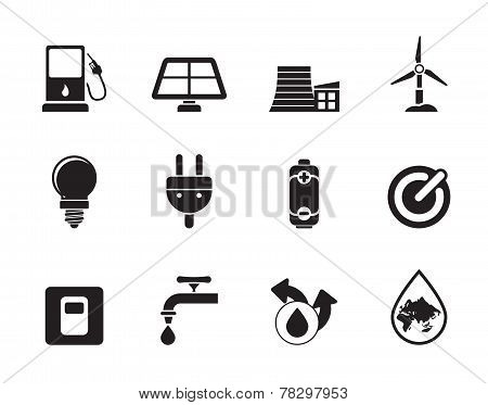 Silhouette Ecology, power and energy icons