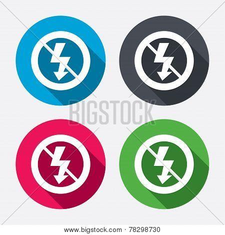 No Photo flash sign icon. Lightning symbol.