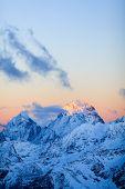 stock photo of blue ridge mountains  - Mountain inspirational landscape beautiful sunset on Ushba autumn or winter in Caucasus Mountains Russia and Georgia - JPG