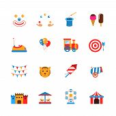 stock photo of circus clown  - Amusement park icons flat set with clown juggler balloons isolated vector illustration - JPG