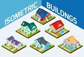 picture of isometric  - Private house real estate decorative icons set 3d isometric isolated vector illustration - JPG