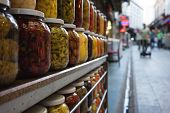 picture of pickled vegetables  - Jars with marinated and pickled vegetables at the market. Istanbul