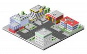 picture of fire-station  - Isometric town concept with government buildings set of hospital police fire station vector illustration - JPG