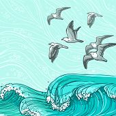 pic of water bird  - Waves flowing water sketch sea ocean and flying seagull birds colored background vector illustration - JPG