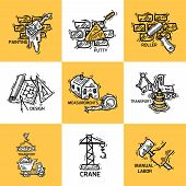 foto of putty  - Construction sketch decorative icons set with painting putty roller isolated vector illustration - JPG