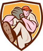 foto of throw up  - Illustration of an american baseball player pitcher outfilelder with leg up getting ready to throw ball set inside shield crest on isolated background done in cartoon style - JPG