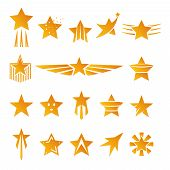 image of stellar  - Set of Gold Star Shapes for Logos and Emblems Graphic Design on White Background - JPG
