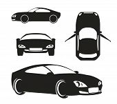image of offside  - Vector Silhouette Car in Different Views Isolated on White Background - JPG
