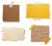 stock photo of cut torn paper  - collection of old note paper paper on white background - JPG