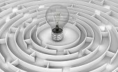pic of three dimensional shape  - Image of Light Bulb in maze - JPG