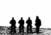 foto of battlefield  - Old school Toy Soldiers in battlefield vector - JPG