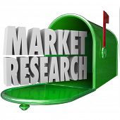 stock photo of mailbox  - Market Research in 3d words in a green metal mailbox to illustrate customer or buyer research - JPG