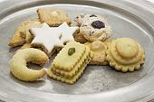 picture of desert christmas  - Selection of Christmas cookies on a tin plate - JPG