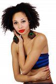 image of skinny  - Skinny African American Woman Wearing Tube Top - JPG