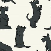 stock photo of scottish terrier  - Seamless pattern with sketches of four cute Scottish terriers in different poses - JPG