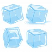 stock photo of ice-cubes  - Ice cubes and melted ice cube vector set on white background - JPG