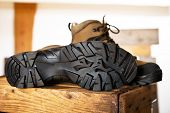 foto of soles  - detail of walking boots with grip sole - JPG