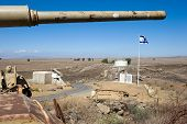 stock photo of golan-heights  - Barrel of an old centurion tank on  - JPG