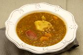 image of stew  - Lentil stew with sausage and vegetable stew - JPG