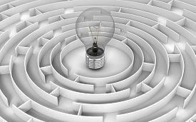 stock photo of three dimensional shape  - Image of Light Bulb in maze - JPG