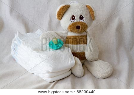 toy teddy bear diapers pacifier group things baby bed