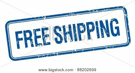 Free Shipping Blue Square Grungy Vintage Isolated Stamp