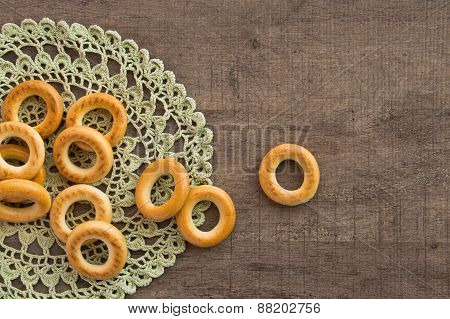 traditional bagels and lace doily