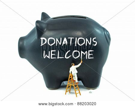 Donations Welcome on Piggy bank