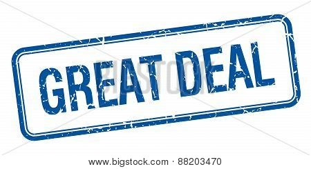 Great Deal Blue Square Grungy Vintage Isolated Stamp