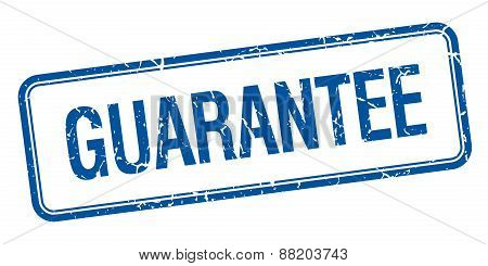 Guarantee Blue Square Grungy Vintage Isolated Stamp