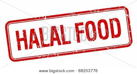 Halal Food Red Square Grungy Vintage Isolated Stamp