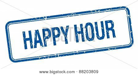 Happy Hour Blue Square Grungy Vintage Isolated Stamp