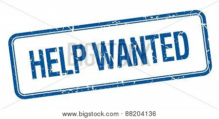 Help Wanted Blue Square Grungy Vintage Isolated Stamp