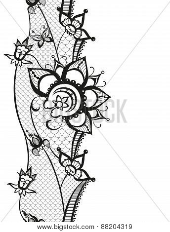 Abstract Lace With Elements Of Butterfly And Flowers