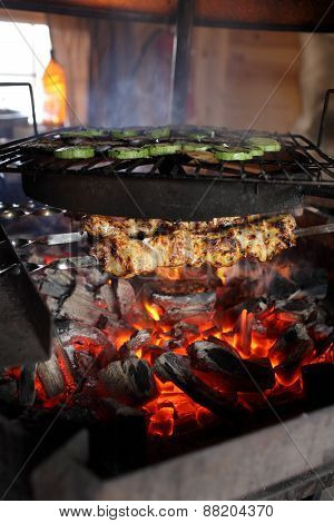 Cooking Of Meat And Vegetables
