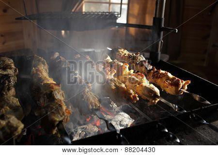 Fried Meat In Smoke