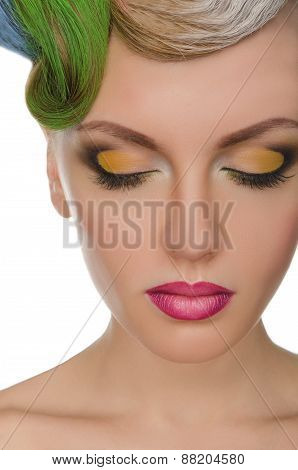 Portrait Of Beautiful Woman With Bright Makeup