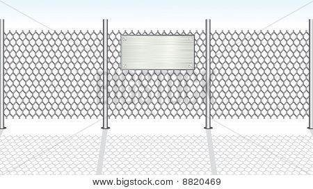 Sign on fence