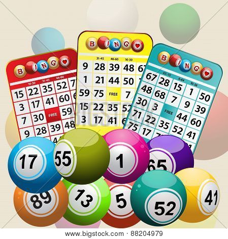 Three Bingo Cards And Bingo Balls Background