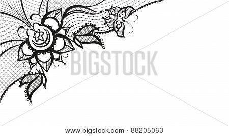 Abstract Lace With Elements Of Butterfly And Flower